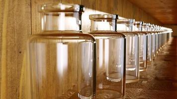 Row of glass jars