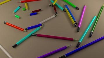 Pencils scattered on floor