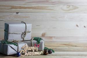 feliz navidad escena con regalos foto