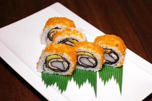 Orange sushi rolls photo
