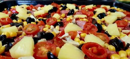 Close-up of pizza toppings