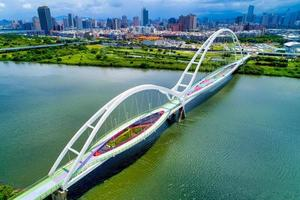 New Taipei City, Taiwan, July 11, 2018 - Aerial view of the Crescent Bridge