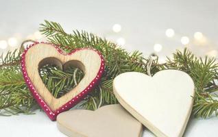 decoración de navidad corazón de madera
