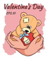 Teddy bear with a heart in his hands. vector