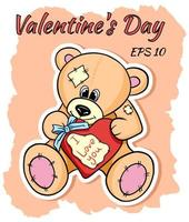 Beige teddy bear with a heart in his hands. vector