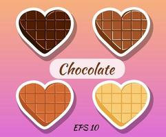 Chocolates in the form of a heart. Dark chocolate, white, milk. vector