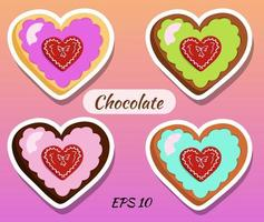 Chocolates in the form of a heart. vector