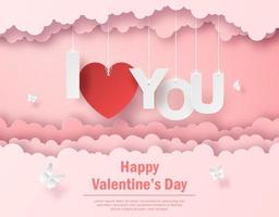 Valentine postcard of Hanging text I Love you on the sky, Happy Valentine's Day vector