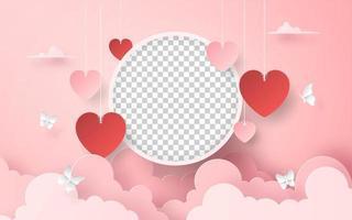 Marco de fotos en blanco con globo en forma de corazón en el cielo, romántico día de San Valentín