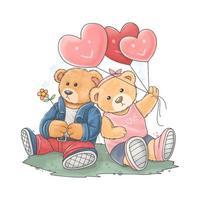 oso de peluche lleva una chaqueta rocker con su novia vector