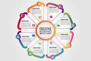 Infographics chart 8 steps options business concept horizontal timeline vector
