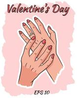 Women hands with a wedding ring. vector
