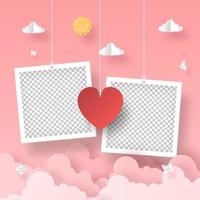 Blank photo frame with heart shape balloon on the sky, Romantic Valentine's Day vector