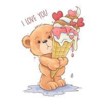 oso de peluche sostiene un helado de corazón de amor derretido vector