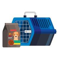 pet carry box with food bag for dog vector