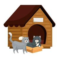 lindos gatitos con casa de madera vector