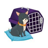 lindo perro en cojín y caja de transporte vector