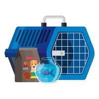caja de transporte de mascotas con iconos vector