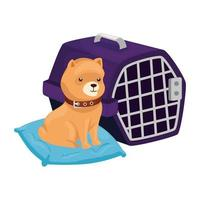 cute dog in cushion and carry box vector