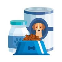 foods and bottle medicine for dog isolated icon vector