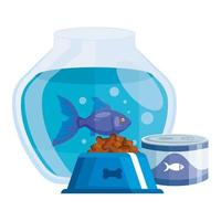 round glass fish bowl with food for fish in can and dish food dog vector