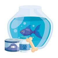 round glass fish bowl with food for fish in can and icons vector