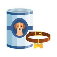 food for dog in can with collar isolated icon vector