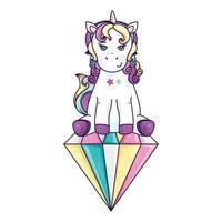 lindo unicornio fantasía en diamante icono aislado vector