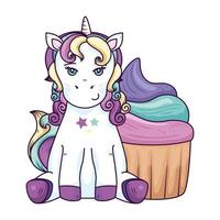 cute unicorn fantasy with cupcake isolated icon vector