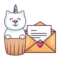 cupcake of cute cat unicorn with envelope vector