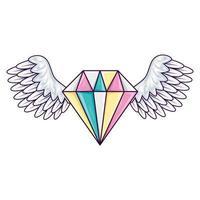 Linda joyería de diamantes con alas icono aislado vector