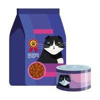 bag and can of food for cat isolated icon vector