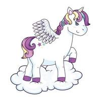 cute unicorn with wings and stars in cloud vector