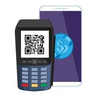 dataphone with scan code qr and smartphone with coin