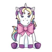 cute unicorn fantasy with bow ribbon vector