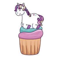 cute unicorn fantasy in cupcake isolated icon vector