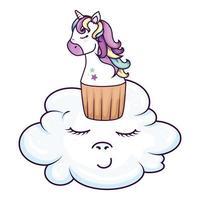 cupcake of head of cute unicorn in cloud kawaii style vector