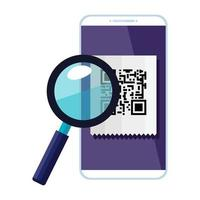 smartphone device with scan code qr and magnifying glass