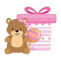 gift box pink with bear and rattle vector