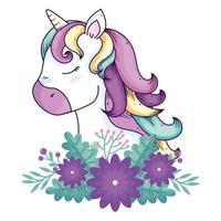 cabeza de unicornio lindo fantasía con decoración de flores vector