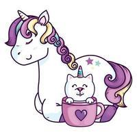 lindo unicornio con gato unicornio en taza vector