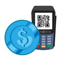 dataphone with scan code qr and coin vector