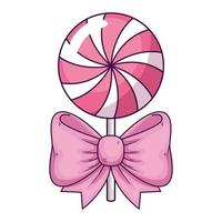 delicious lollipop with bow ribbon isolated icon vector