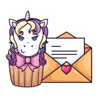 cupcake of head of cute unicorn with envelope vector