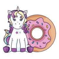 cute unicorn fantasy with donut isolated icon vector