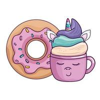 cute cup unicorn with donut kawaii style vector