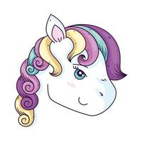cara de linda fantasía unicornio vector