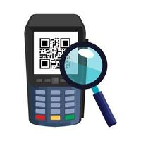 dataphone with scan code qr and magnifying glass vector