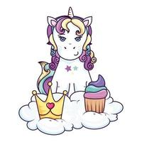 cute unicorn with crown and cupcake in cloud vector