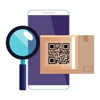 qr code box and lupe and smarpthone vector design